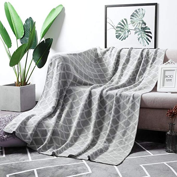 Terrific 100 Cotton Black Cable Knit Throw Blanket For Couch Bed Sofa Chair Black White Stripe Reversible Decorative Knitted Blankets 51X 63 Size Grey And Creativecarmelina Interior Chair Design Creativecarmelinacom
