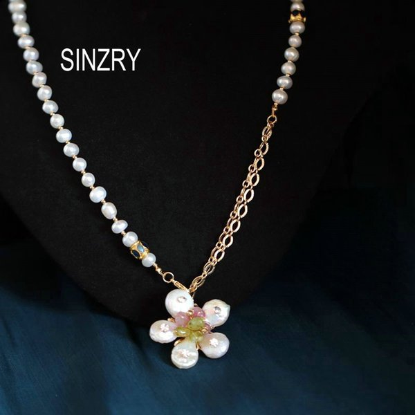 sinzry handmade baroque natural pearl elegant flower chokers necklace band for women party fashion jewelry gift