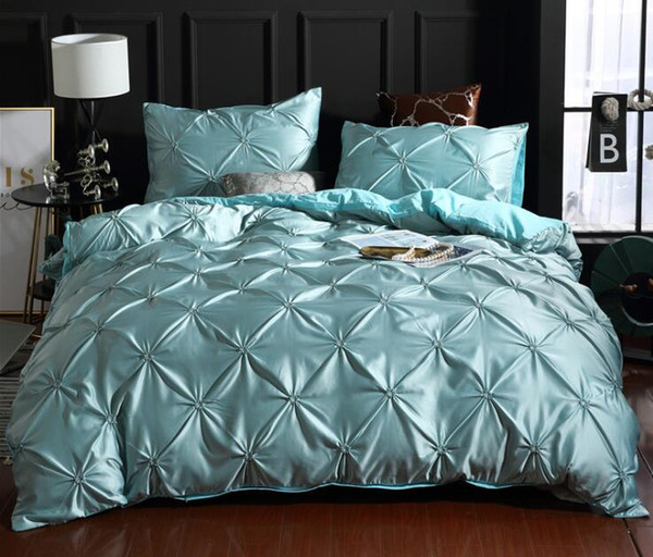 Satin Silk Bedding Set Solid Color Nordic Style Silk Bedding Set with Pillowcase Full Queen King Size