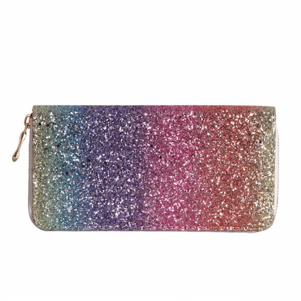 Women Long Wallet Sparkly Sequined Clutch Glitter Pu Leather Ladies Phone Bag Card Holder Coin Purse Female Wallets