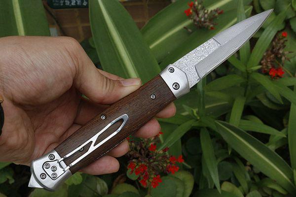 F125 Auto Tactical Folding Knife Damascus Steel Blade Wood Handle EDC Pocket Goft Knives With Nylon Bag