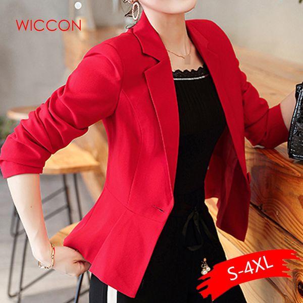 Nuevas mujeres Blazer Spring Slim Top Elegante Un botón Diseño corto Ropa Blazer Traje Traje femenino Ropa de trabajo para mujer