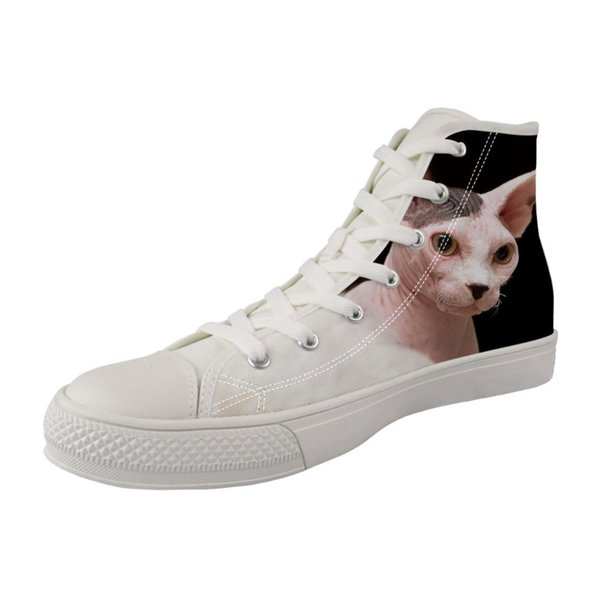 Female High top Casual Canvas Vulcanized Shoes Girls Women White Breathable Lace-up Sneakers Canadian Hairless Sphinx cat Paint