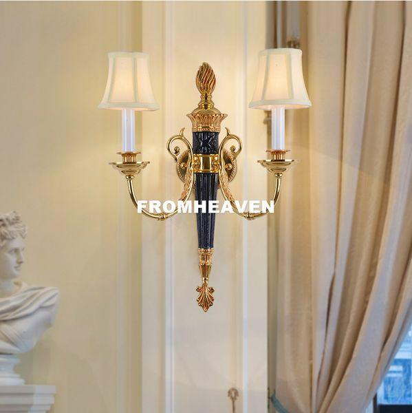 Бронзовый Nordic Style French 100% Медь Настенный светильник W42cm H55cm Antique Villa Бра Кристалл прикроватный свет стены освещение 100% гарантированы