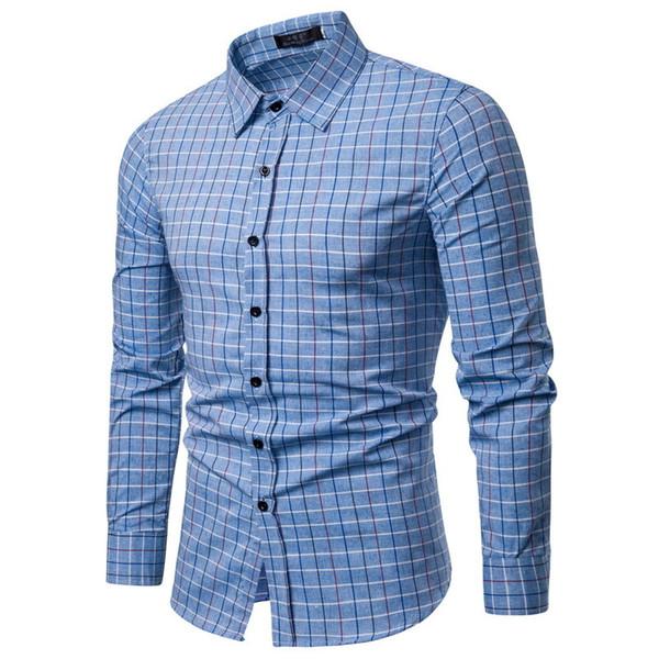 Brand 2019 Fashion Male Shirt Long-sleeves Tops Stripe Lattice Mens Dress Shirts Slim Men Shirt S-xxl