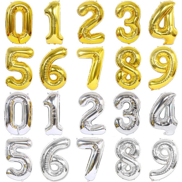 top popular 40 Inch Aluminum foil balloon fly up Number Shaped Gold Silver Rose Inflatable Ballons Birthday Wedding Decoration Event Party Z0629 2021