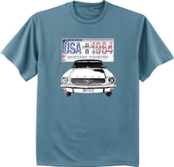 T-shirt Ford Mustang per uomo. Maglietta manica corta da corsa. Targa Mustang