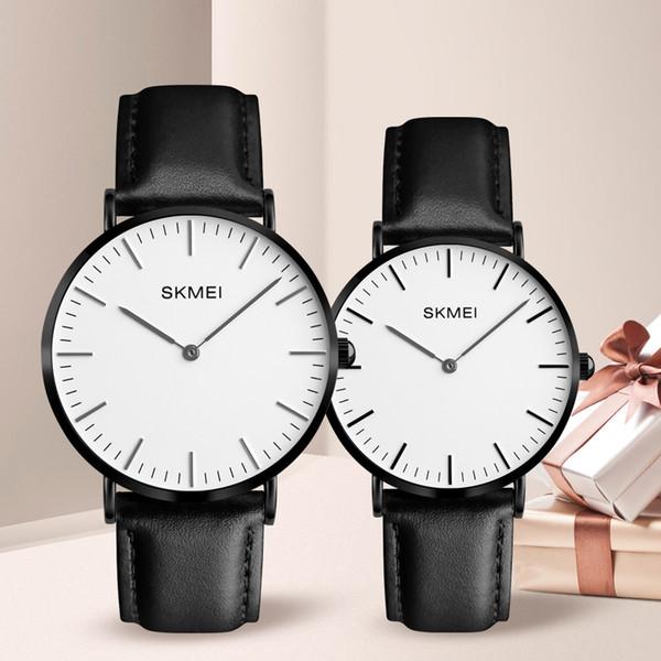 wholesale Lovers Watches Women Men Black Leather Quartz Wrist Watch Couples Woman Man Fashion Casual Wristwatches Relogio Clock 1182