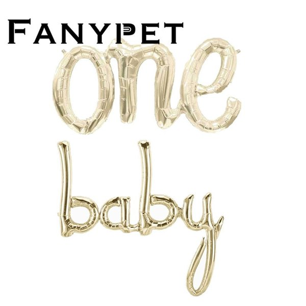 Baby One Script Balloon Baby Mylar Balloon White Gold Gender Reveal Balloon Baby Shower 1st Birtdhay Party Decorations Y19061704