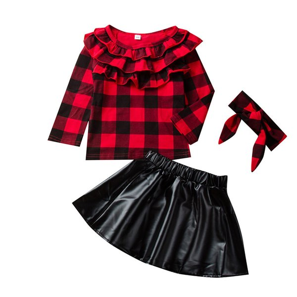 kids designer clothes girls lattice outfits children Plaid Ruffle Tops+PU skirt with headband 3pcs/set Spring Autumn baby Clothing SetsC1080