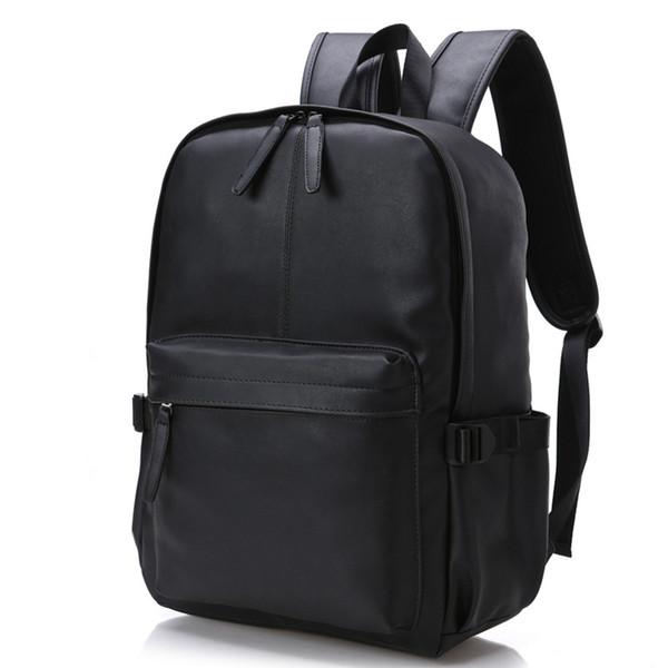 New Arrival Men's Vintage Pu School Leather Preppy Style Backpack Waterproof Brand 15.6 Inch Laptop Backpack Men Backpacks