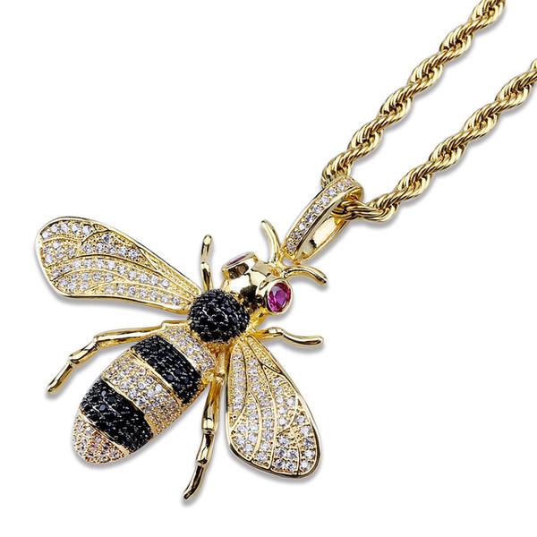 Colliers Bee pendentif pour les femmes Hommes 18k Cuivre Or diamant CZ Bling Glacé chaîne charme cristal Collier Hip Hop Bijoux cadeau M945F