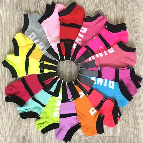 best selling Wholesale Pink Black Socks Adult Multicolor Cotton Short Ankle Socks Outdoor Sports Basketball Cheerleader Socks for Girls Women