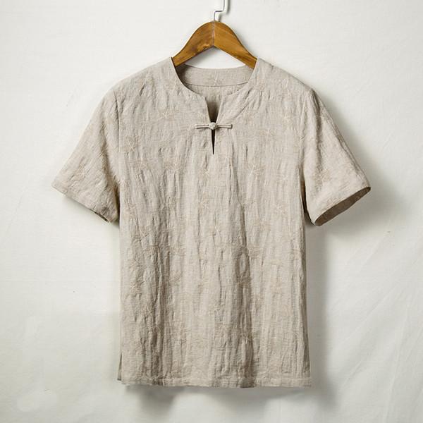 Camisa dos homens de verão Streetwear Camisa Casual camisa de manga Curta Do Vintage Cor Pura de Algodão de Linho Blusa Tops Camisa masculina