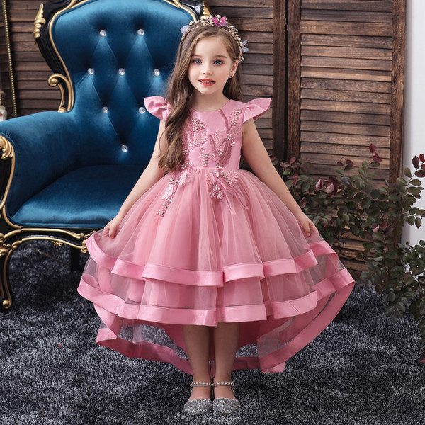 top popular girl Stage Wear dress 2020 summer new children's dresses tail dresses piano performance clothes for big children kids dress wholesale 2021
