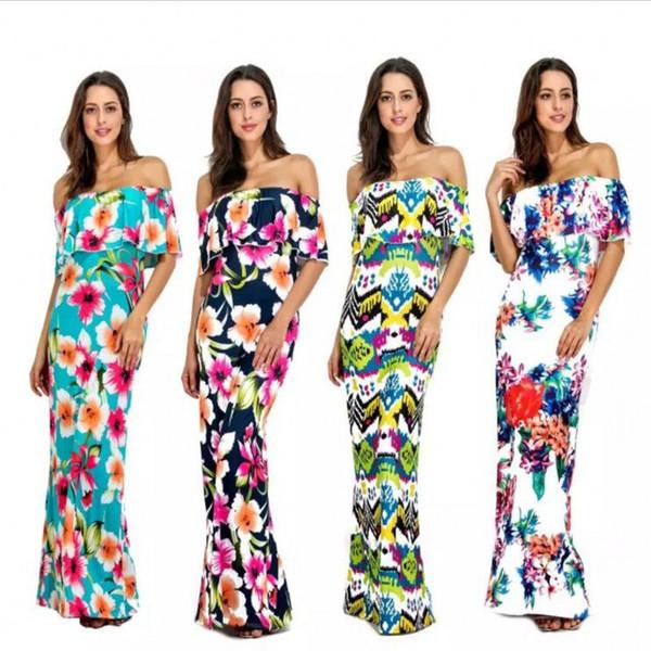 Гавайи лепесток богемный платье женщины праздник с плеча дамы Макси длинные летние печати платье купальники для женщин S-XL Boho женщин пользовательские