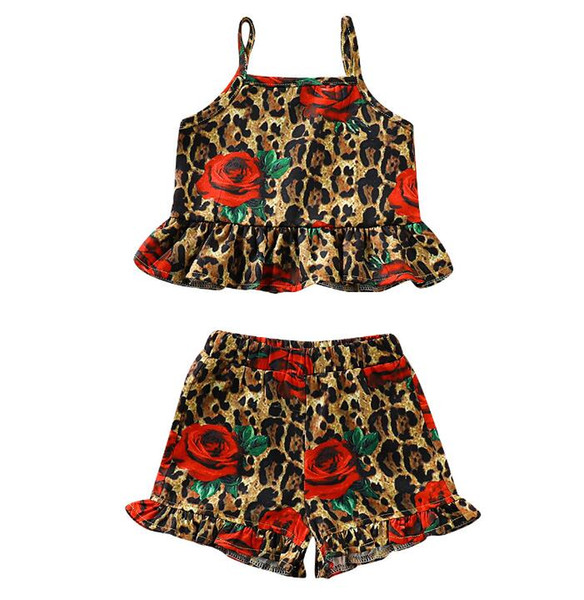 Newborn Baby Leopard Rose Print 2Pcs Set Baby Girl's Summer Fashion Outfit Clothes Square Collar Vest 2019 Hot Sale Sets
