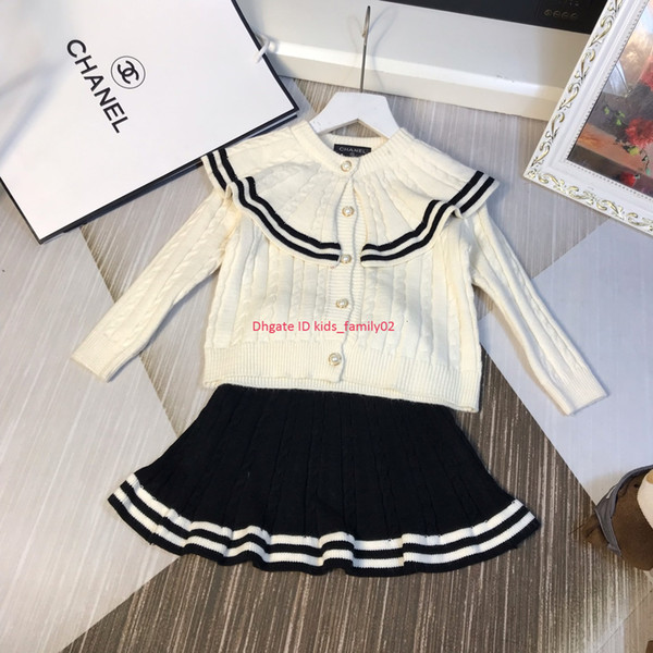 Girls sweaters set autumn kids designer clothing sweater cardigan + black A word skirt 2pcs high density knitting sets push