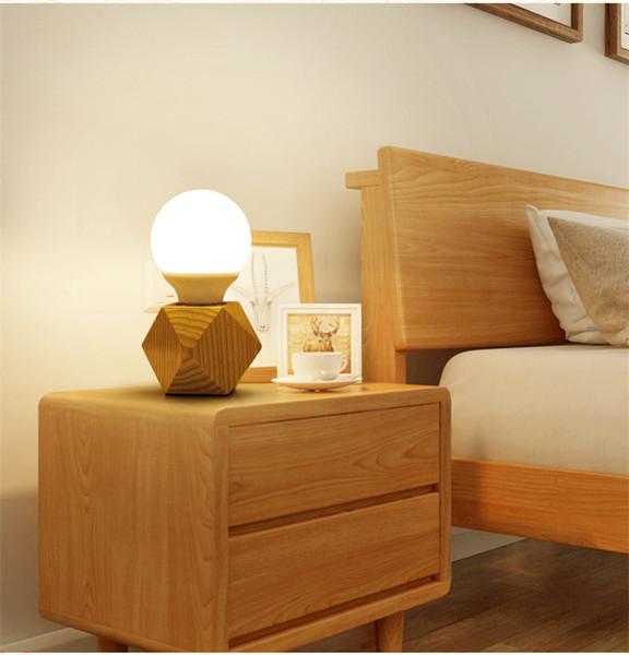 LOFT Wooden Desk Lamps LED Wood Table Lamp Desk Lights Night Lamps Beside Living Room Bedroom Table Lamps Lighting Fixtures