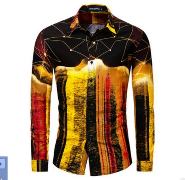 New Large Size Men's Pure Cotton Long Sleeve Coloured Shirts T-shirts jackets coats Nightclub singer