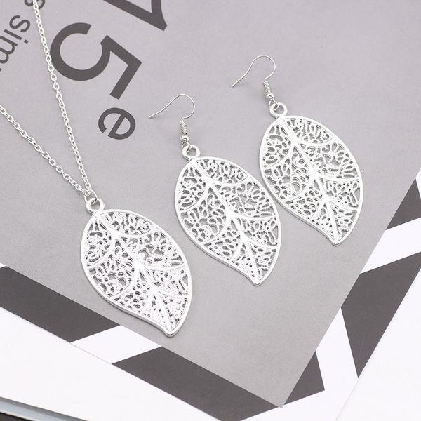 Set di gioielli con foglie semplici Boho per donne, ragazze, argento, delicato, elegante, pianta, collana, orecchini a goccia, gioielli femminili di alta qualità