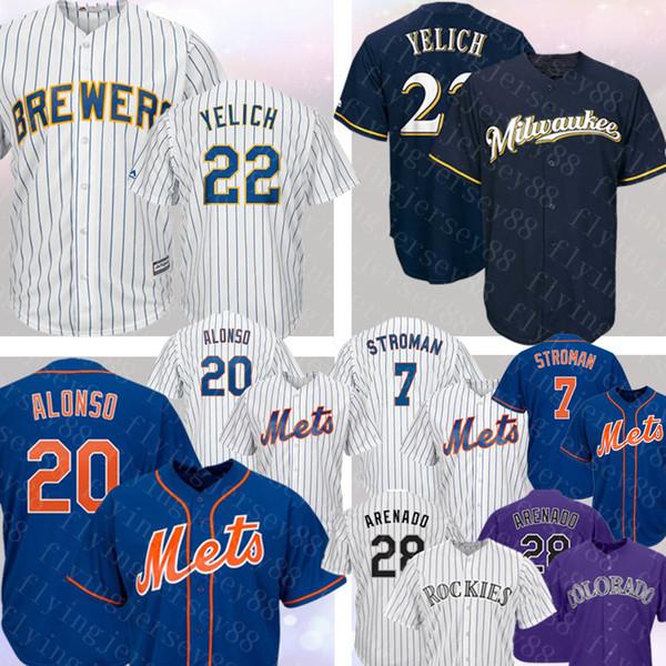 Milwaukee Mens Brewers 22 Christian Yelich Jersey 20 Pete Alonso 7 Marcus Stroman 28 Nolan Arenado Colorado # Rockies Jerseys