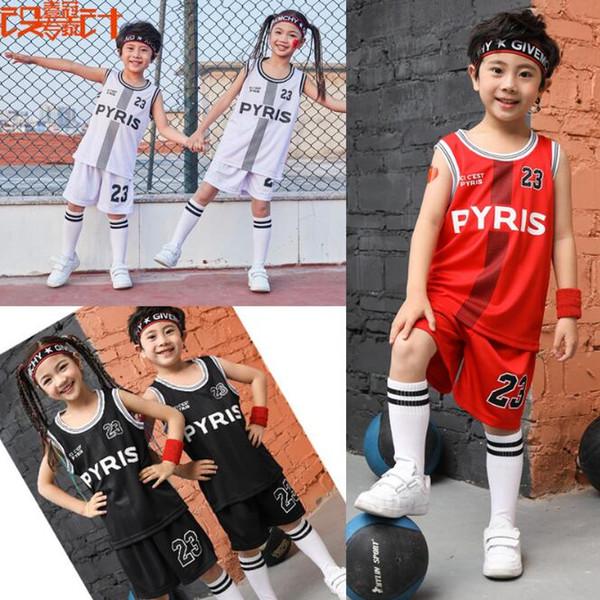 Nova 2019 crianças PYIRS 23 uniforme de basquete T-shirt terno, basquete jerseys, calções esporte miúdo e camisas de roupas de competição da equipe