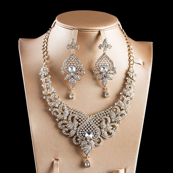LAN PALACE New arrivals jewelry set gold color glass necklace and earrings for wedding free shipping J190521