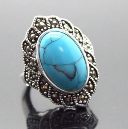 good Bridal Wedding 17X30mm Blue stone Oval Gem 925 Sterling Silver Marcasite Ring Size 7/8/9/10