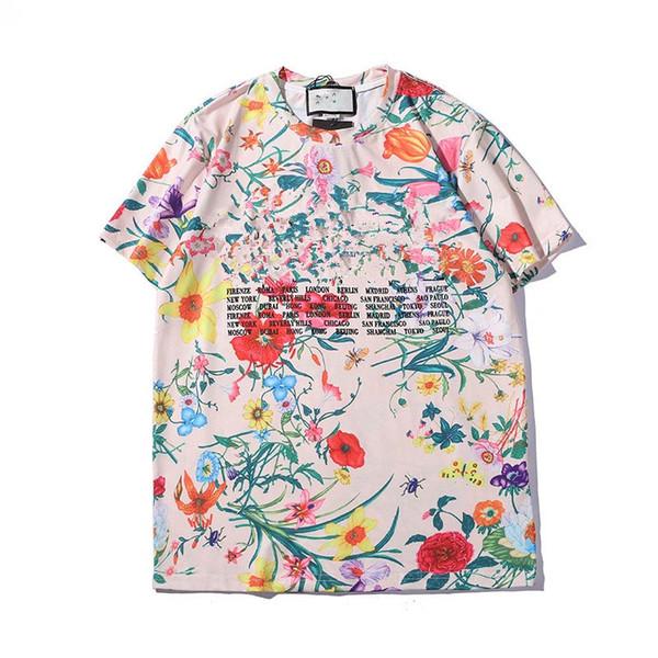 Мужчины Женщины Летние футболки Повседневная шею с цветочным принтом Тройники с короткими рукавами Хлопок Красочные S-2XL Верхняя одежда Рубашка поло