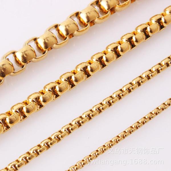 3mm60 cm 10 pcs Atacado Em Tom de Ouro Em Massa Caixa de Aço Inoxidável Colar de Corrente para o Pendente de Combinação