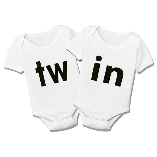 Twins Outfits Boy Girl Infant Bodysuit Cotton Twins Girls Clothes Baby Newborn Short Sleeve Jumpsuit Summer Onesie for Babies