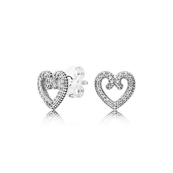 Women's Authentic 925 Silver Love Heart Stud Earrings for Pandora CZ Diamond Wedding Jewelry Earring with Original box Set