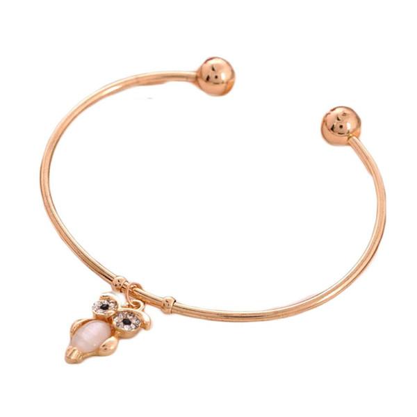 1 Pcs De Mode Mignon Hibou Pendentif Ouvert Bracelet Femme Femme Pulseira Feminina Bracelet Argent couleur Bijoux Pulseras Mujer