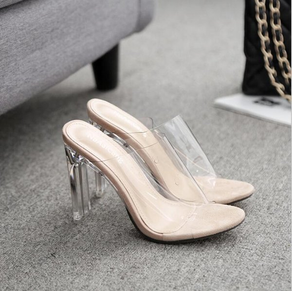 2019 New Pvc Jelly Sandals Crystal Open Toed Sexy Thin Heels Slipper Crystal Women Transparent High Heel Slippers Pumps A427