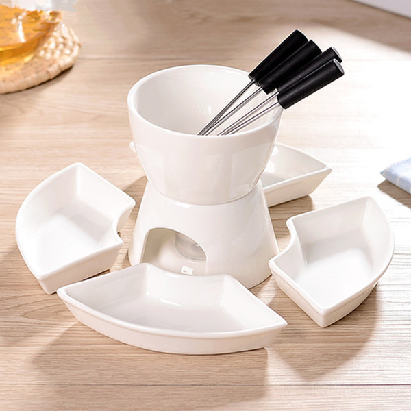Mini Chocolate Fondue Set With Plate Two Layer Porcelain Tealight Cheese Fondue With Dipping Bowls And Forks Gag Gift Catalogs Gag Gift For Men From