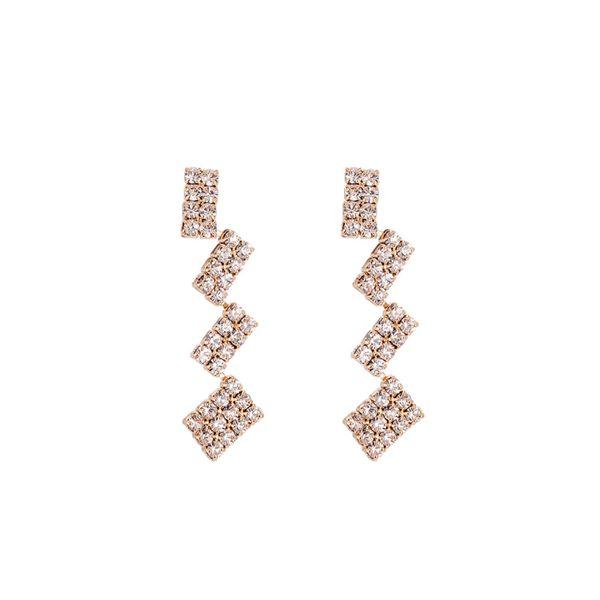 Spring New Han Faner Geometric Block Stitching Ear Nails Female Chic Wind Earrings sweet peach hearNails Korean Personality Baitao Earrings