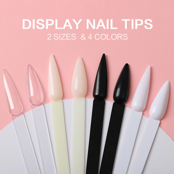 top popular Stiletto Nail Swatches Sticks Fan-shaped Nail Art False Tips Color Card Gel Nail Polish Display Board Detachable Practice Sticks Wheel 2021