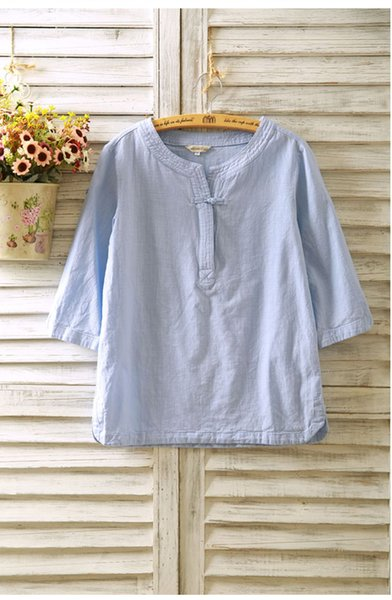 best selling 2020 spring and summer cotton and linen women's shirt seven-point sleeves linen buckle long-sleeved loose national wind short-sleeved T-shir