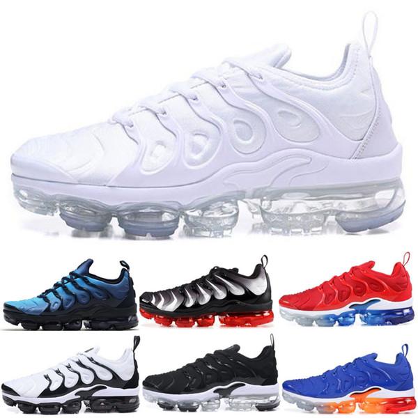 Compre 2019 Designer Shoes Men Women Nike AIR MAX Bumblebee TN Plus Hombres Zapatillas De Running Triple Negro Blanco Puesta De Sol Foto Azul Mujer