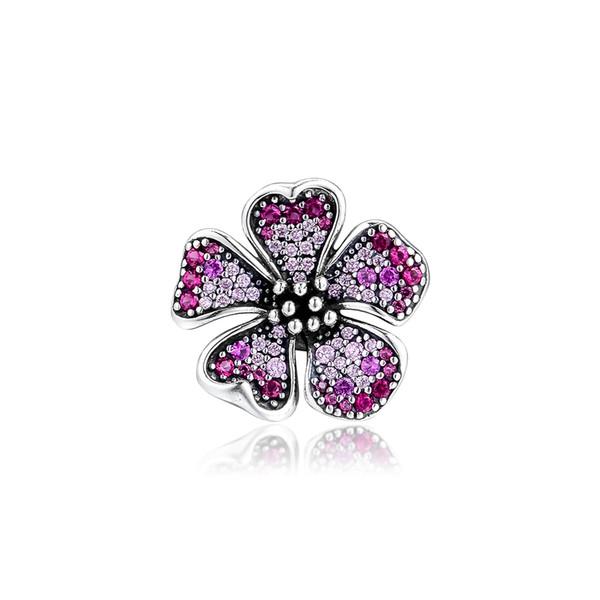 2019 925 bijoux en argent réel Sterling Big Peach Flower Charm Perles Bracelets Fits Pandora Europe Collier pour les femmes Faire