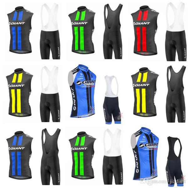 Гигантская команда Велоспорт без рукавов Джерси жилет (нагрудник)шорты наборы новая одежда горный велосипед носить открытый спортивная одежда c2106