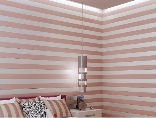 10 meter Fabric Mural wallpaper modern striped flock wall paper papel de parede tapete 3D Roll Wallpapers Beige/Pink/White
