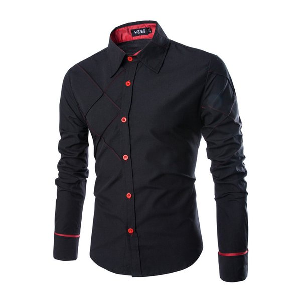 Designer Plaid Mens Business Shirt Mens Long Sleeve Panelled Clothes Fashion Styles Single Breasted Homme Tops
