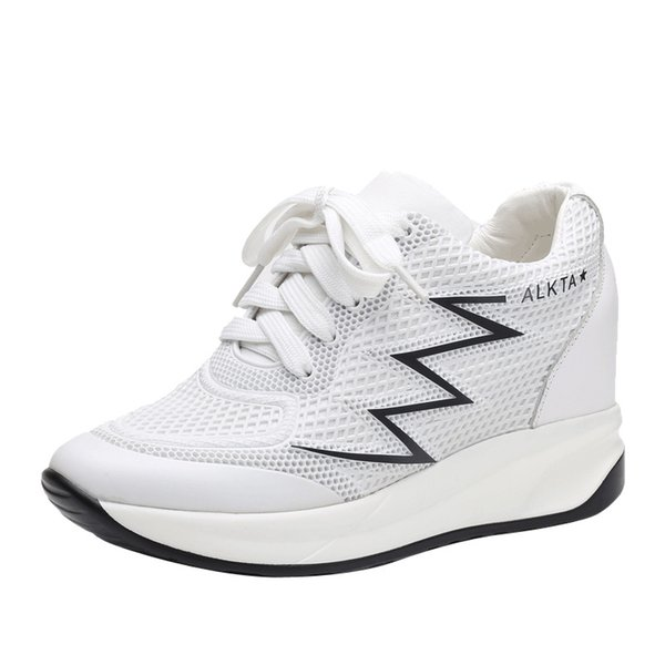 New first layer cowhide increased summer mesh breathable white shoes wild single shoes sports shoes women Increase 6cm girl Loafers 33-41