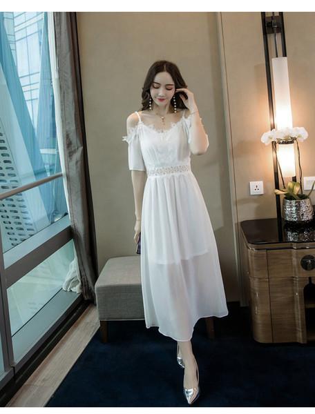 White Summer 2019 Women Chiffon Lace Dresses Slim Beach Skirt Sling Short Cold Wind Long Skirt QC0201