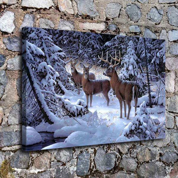 Edge of Light Deer Animal,1 Pieces Canvas Prints Wall Art Oil Painting Home Decor (Unframed/Framed)