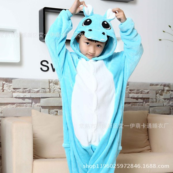 Hippo Overalls Jumpsuit with Pockets Children Cosplay Costume Blue Kigurumi Onesie Blanket Sleepers Kids Pajama Hip With Zipper CJ191205