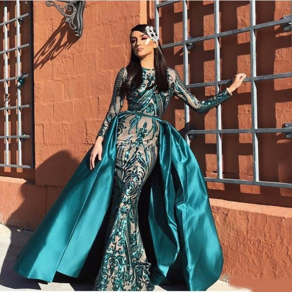 Hot Sale Burgundy Lace Mermaid Evening Dresses With Detachable Train Jewel Neck Plus Size Sequined Prom Gowns Long Sleeves Formal Dress