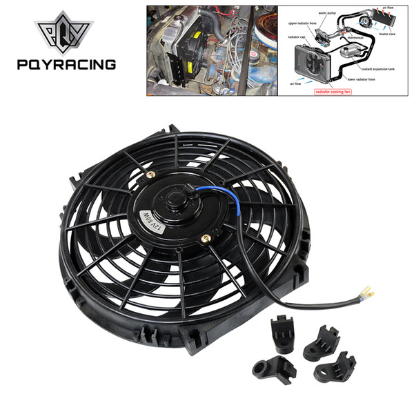 """best selling PQY - 10 Inch Universal 12V 80W Slim Reversible Electric Radiator AUTO FAN Push Pull With mounting kit Type S 10""""PQY-FAN10"""